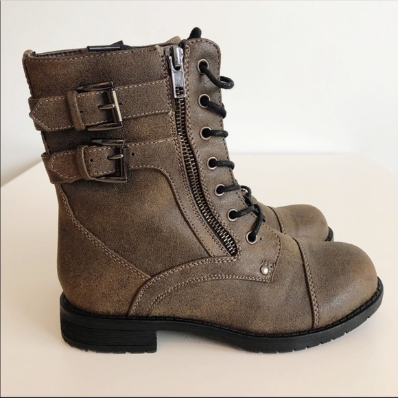Girls Brown Lace Up Boots Size